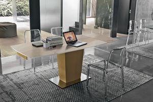 COPERNICO 120 TA184, Table extensible moderne avec plateau et rallonges en verre