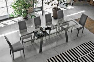 GIOVE 180 TA193, Extensible table, plateau et rallonges en verre, pour la salle à manger