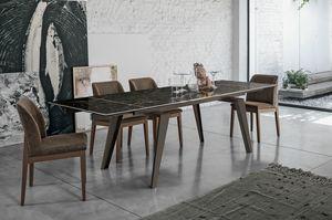 LIBECCIO 160 TA1A7, Table avec plateau en verre extensible