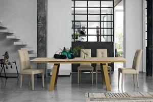 MARTE 160 TA127, Table extensible avec plateau et rallonges en verre