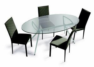 Metro, Table avec plateau en verre elliptique