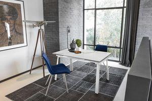 PONENTE 130 TA1B8, Table avec plateau extensible en verre ou en grès