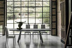 PONENTE 180 TA1A4, Table avec plateau et rallonges en grès cérame