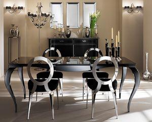 Raffaello Table, Table avec pieds en aluminium, top sérigraphié