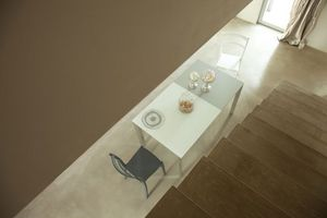 s70 ascanio, Table extensible carrée avec plateau en verre