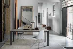 SATURNO 130 TA188, Table à rallonges, structure en aluminium, plateau en verre trempé