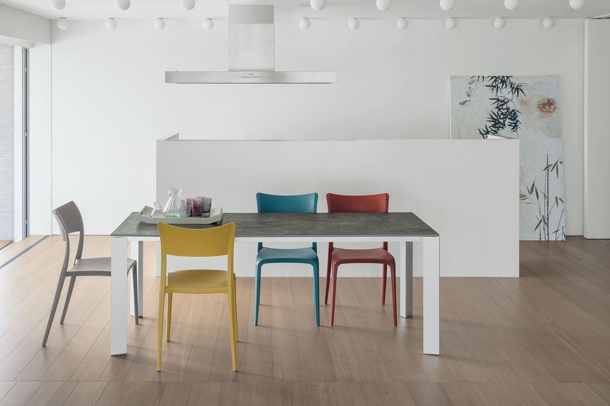 SATURNO 160 TA192, Tableau avec cadre en aluminium, plateau en verre trempé, style moderne