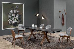 STILL, Table fixe ou extensible, avec base en bois courbé et plateau en céramique