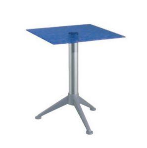 Table 60x60 cod. 20/BG3AV, Table avec des barres en verre trempé, colonne en aluminium