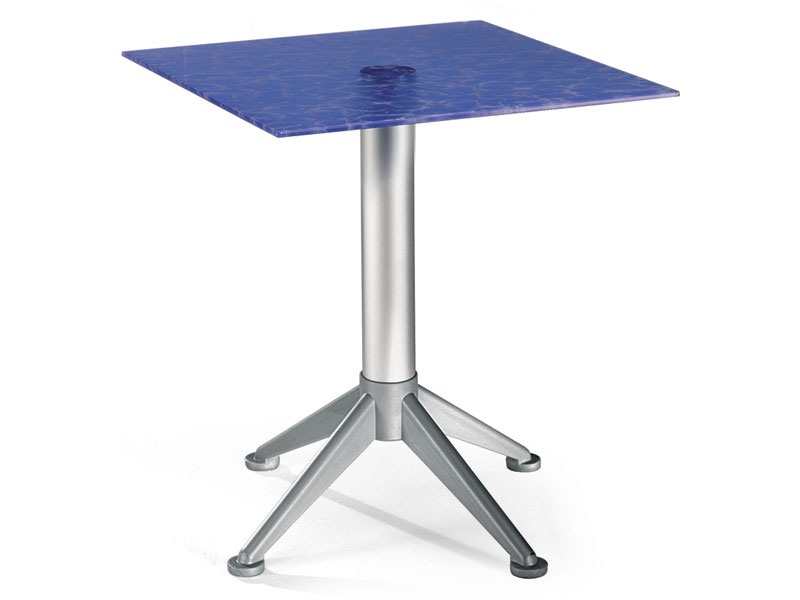 Table 60x60 cod. 20/BG4AV, Steel table basse avec plateau en verre coloré
