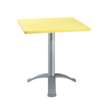 Table 72x72 cod. 06/BG3, Bar table carrée, fonder avec trois pieds en aluminium