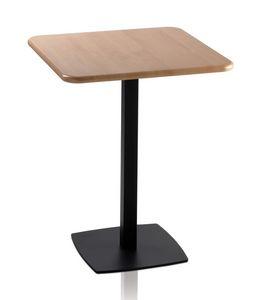 TOTEM 410, Table basse carrée pour les bars, base métallique carré
