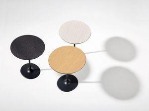Dizzie, avec piètement gris foncé et plateau en bois, Café-bar ronde, plateau en bois stratifié, style minimaliste
