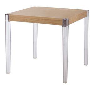 Together, Table avec des jambes en polycarbonate, plateau en bois