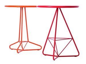 Tria Due d60 d70, Table d'extérieur en métal de couleur, plateau rond