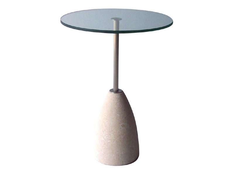 Element 2, Table ronde en pierre et en verre, pour les bars et pubs
