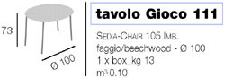 Gioco 111 table, 105IMB chair, Table de jeu avec drap vert, plateau rond