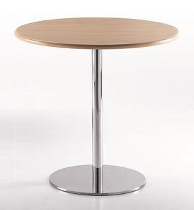 BASIC 856, Table ronde avec base en métal chromé