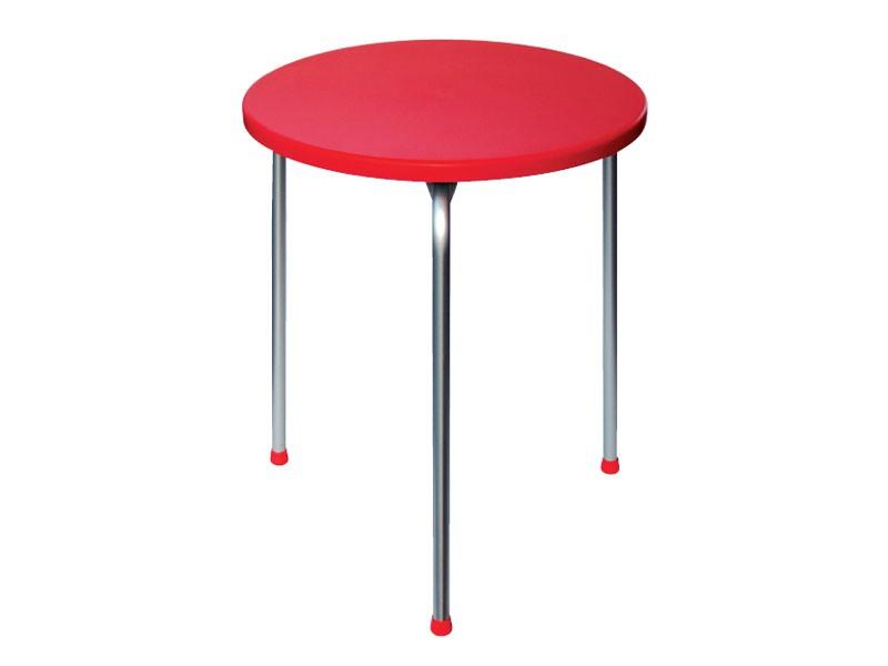 Table Ø 60 cod. 04, Table empilable avec trois jambes en aluminium anodisé