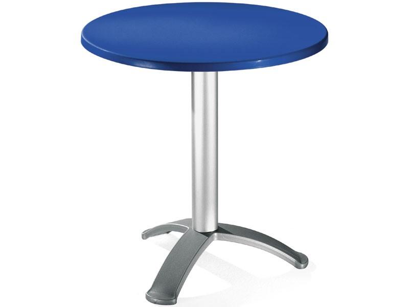 Table Ø 72 cod. 03/BG3, Table ronde avec la colonne en aluminium anodisé
