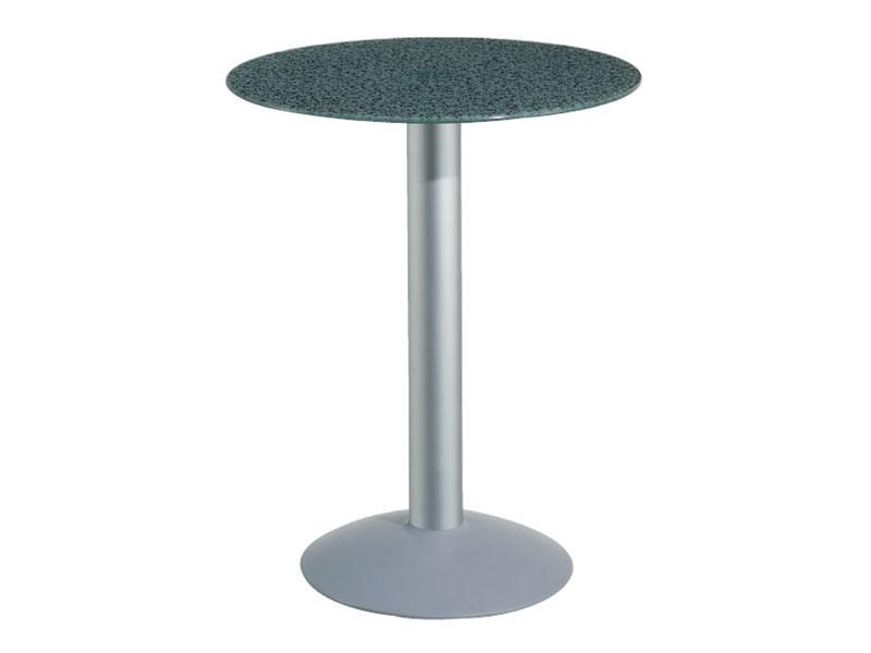 Table Ø 72 cod. 03/BTV, Table avec plateau en verre trempé, colonne en aluminium