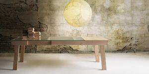 Banc, Table avec extension, structure de cendres, plateau en verre