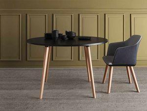 Login, Table ronde avec pieds en hêtre