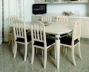 Alì 111, Table à manger en bois de frêne blanchi