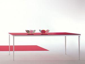 Arge, Table rectangulaire en métal avec le verre