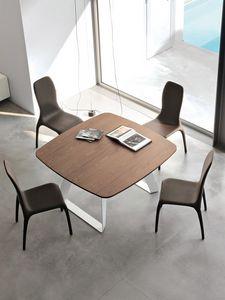 BRENTA, Table extensible en métal avec plateau en bois pour salon