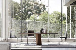 CLARK, Table à manger en bois massif et métal