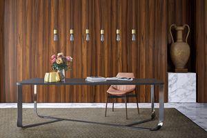 Confluence rectangulaire, Table Minimal avec structure en acier, plateau rectangulaire