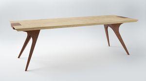 EREISMA - VAR. 1, Table avec plateau en chêne, support en acier émaillé
