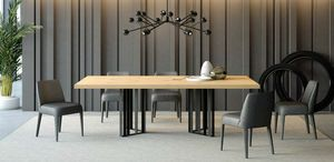 Ironwood  table Jupiter chêne, Table à manger en fer et en chêne