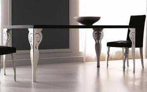Kaleido Art. 208-RR, Table à manger avec pied en fer découpé au laser, poli et décoré à la main