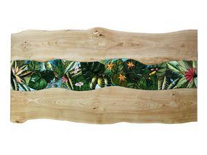 Life Amazzonia, Table avec plateau en bois et pierre de lave
