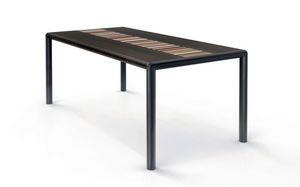 OLIMPO 1.8 BC–WENGE', Table rectangulaire, haut wengé, la structure en acier noir