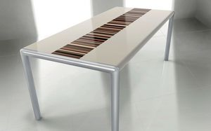 OLIMPO 2.0 BC- LA CREAM, Table rectangulaire, cadre en métal, idéal pour salle à manger moderne