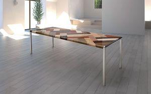 OLIMPO 2.5 PW45, Grande table, plateau en bois, pieds en métal