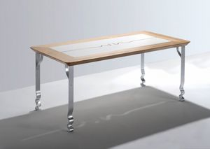 Pashmina, Table rectangulaire avec plateau en bois et les jambes de fer