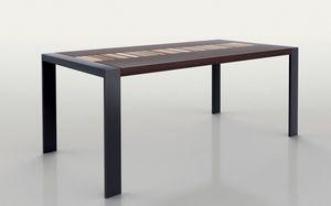 PEGASO 1.8 BC WENGE', Table rectangulaire, cadre en métal, plateau en bois