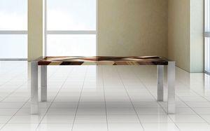 PEGASO 2.0 PW45, Table rectangulaire, cadre en acier poli, plateau en bois