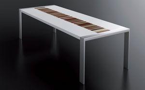 PEGASO 2.5 LA-WHITE, Tableau blanc laqué, cadre en acier brossé, plateau rectangulaire