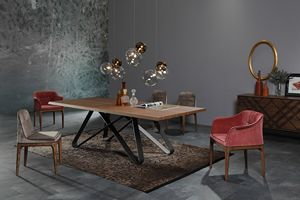 STATUS, Table fixe, avec plateau en bois ou en céramique