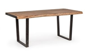 Table Elmer 180X90, Table avec plateau en bois travaillé à la main