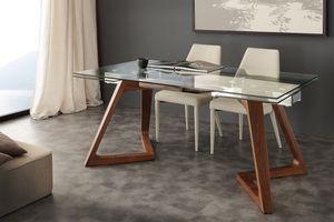 Art. 647 Gaudì, Table avec plateau en verre, extensible