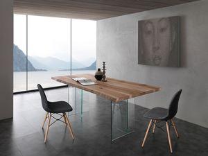 Art. 704VE Bio-Glass, Table avec pieds de verre, haut en bois de frêne massif