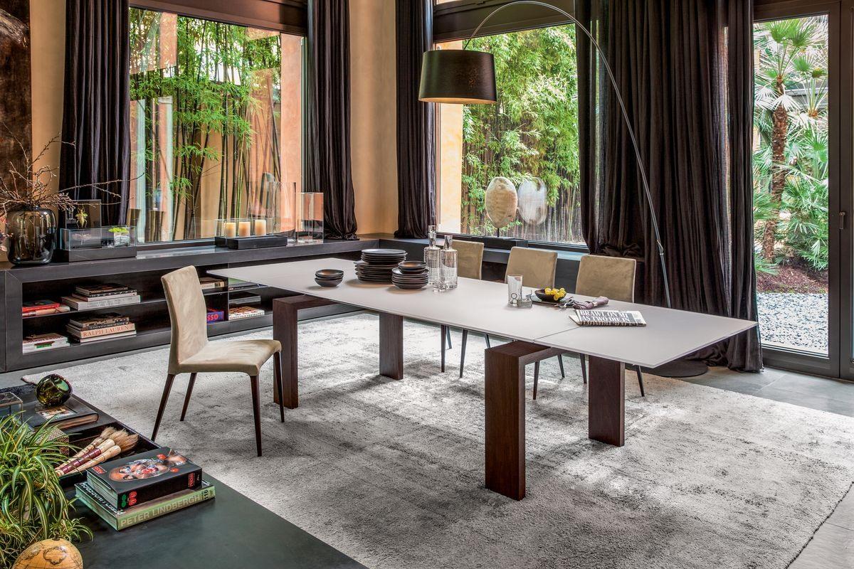 BROOKLYN, Table extensible ou fixe avec plateau en verre ou en céramique