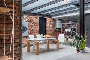 BROOKLYN, Table extensible en verre et en stratifié, pour un usage résidentiel