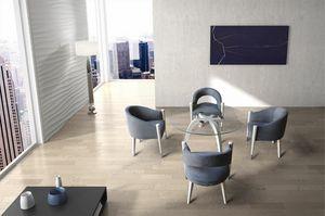 BS604T - Table, Table en bois massif avec plateau en verre